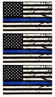 3 Pack of Tattered Blue Line Flag Thin Blue Line Decals, Black, White & Blue American Flag Sticker