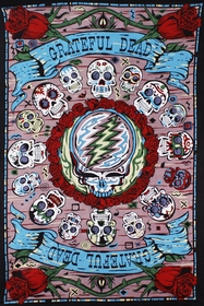 3D Grateful Dead Mexicali Skulls Tapestry 60 x 90""
