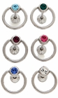 Tongue Body Jewelry - 6 Pack Of  Gem Doorknocker Tongue Ring (Assorted Colors)
