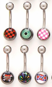 6 Pack Of  Logo Navel Bar Bells (Assorted Designs)