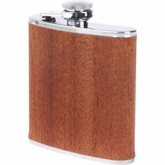 6oz Stainless Steel Flask with Real Sapele Wood Wrap