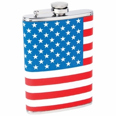 8oz Stainless Steel Flask with American Flag Wrap