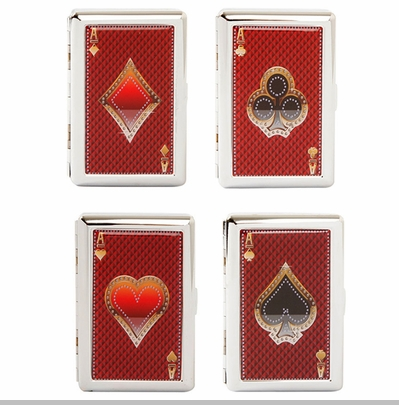 Aces Playing Cards Cigarette Case For Regular Size and 100's<!-- Click to Enlarge-->