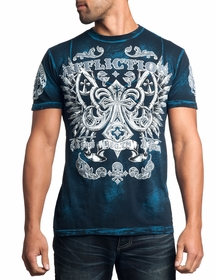 Affliction T-shirt - Affliction Master Cross Tape Crewneck T-shirt (Blue)