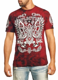 Affliction T-shirt - Affliction Master Cross Tape Crewneck T-shirt (Red)