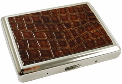 Alligator Leather Antiqued Cigarette Case (For Regular Size & 100's)