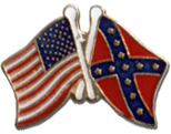 American And Rebel Flags Lapel Pin