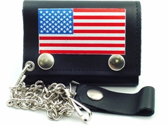American Flag Genuine Leather Chain Wallet