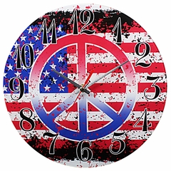 American Flag Peace Sign Analog Wall Clock