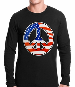 American Flag Peace Sign Thermal Shirt