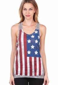 American Flag Vintage Burnout Racer Back Heather Grey Tank Top