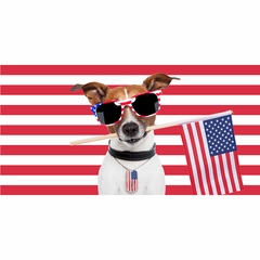 American Pooch - Patriotic Dog with Flags Velour Beach Towel