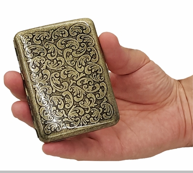 Antique Brass Paisley Cigarette Case (Regular Size Cigarettes)<!-- Click to Enlarge-->