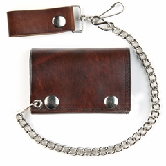 Antique Brown Leather Tri-Fold Wallet With 12 Inch Chain