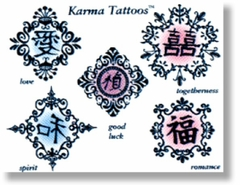 Asian Filigree  Temporary Fake Tattoos
