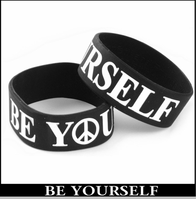 Be Yourself Designer Rubber Saying Bracelet<!-- Click to Enlarge-->