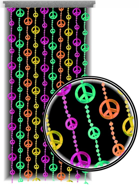 Beaded Curtains Black Light Reactive Neon Peace Sign