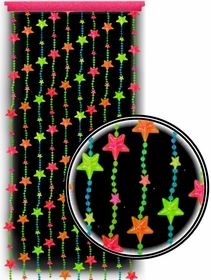 Beaded Curtains - Black Light Reactive Neon Stars Door Beads