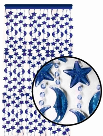 Beaded Curtains - Pearl Blue Star & Moon Door Beads