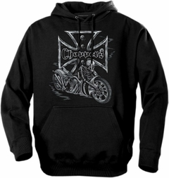 "Biker Hoodies - ""Chopper Skeleton Bike"" Biker Hoodie"