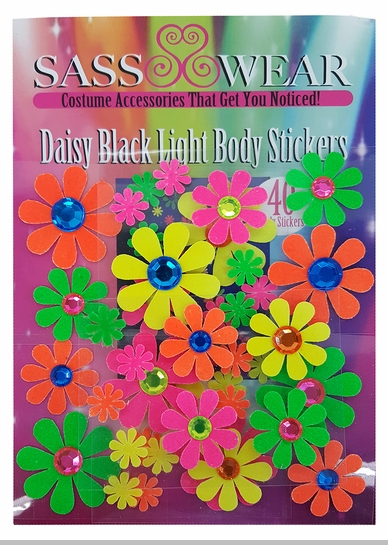 Black Light Reactive Body Stickers - Daisy Flowers<!-- Click to Enlarge-->