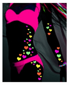 Black Light Reactive Body Stickers - Hearts