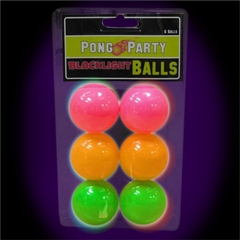 Black Light Reactive Neon Beer Pong Balls (6 Pack)
