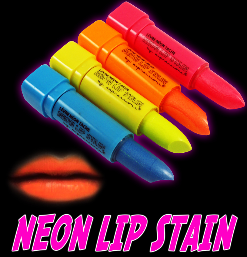 Black Light Reactive Neon Lip And Body Stain Set Of 4 Colors