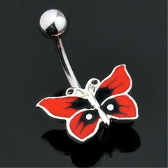 Black & Red Butterfly Navel Jewelry