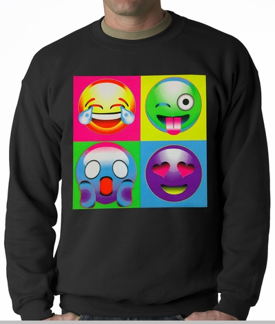 Block Print Emoji Faces Adult Crewneck<!-- Click to Enlarge-->