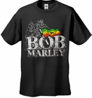 Bob Marley Distressed Logo Men's T-Shirt (Black)