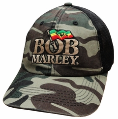 Bob Marley Green Camo Soft Mesh Snap Back Hat