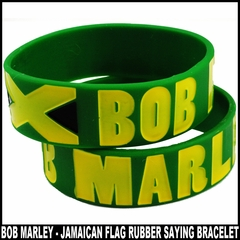 Bob Marley Jamaican Flag Rubber Saying Bracelet (Green)