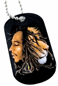 Bob Marley Profiles Dog Tag  Necklace