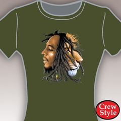 Bob Marley Profiles Girls T-Shirt (Olive Green)