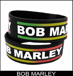 Bob Marley Zion Designer Rubber Saying Bracelet (Black)