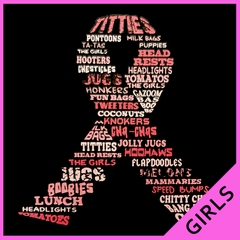 "Breast Cancer Awareness ""Words"" Girl's T-Shirt"