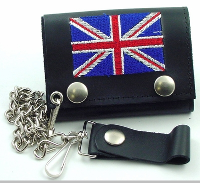 British Flag Genuine Leather Chain Wallet<!-- Click to Enlarge-->