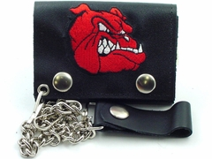 Bulldog Embroidered Leather Chain Wallet