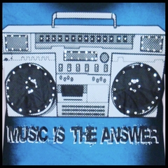 "Bulzeye Revolution ""Music is the Answer"" Rhinestone Couture T-Shirt"
