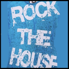 "Bulzeye Revolution ""Rock The House"" Rhinestone Couture T-Shirt (Blue)"
