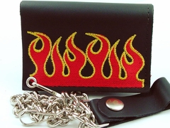 Burning Flames Embroidered Leather Chain Wallet