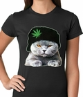 Cat Wearing Pot Leaf Hat Ladies T-shirt