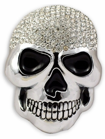 Chrome Bling Skull Buckle With FREE Leather Belt