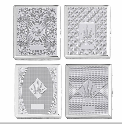 Chrome Cigarette Case with Pot Leaf Pattern for Regular Size Cigarettes<!-- Click to Enlarge-->