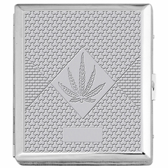 Chrome Cigarette Case with Pot Leaf Pattern for Regular Size Cigarettes