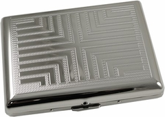 Chrome Ribbed Cross Cigarette Case (For Regular Size & 100's)