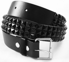 Classic  Leather Pyramid Belt (Black on Black)