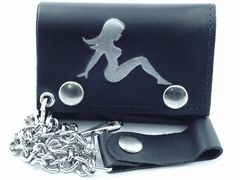 Classic Trucker Babe Genuine Leather Chain Wallet