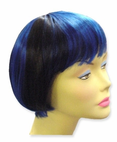 Colored Wigs - Two Tone Black/Blue Wig